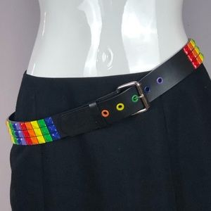HOT TOPIC Studded Rainbow Colors Belt 34 inches